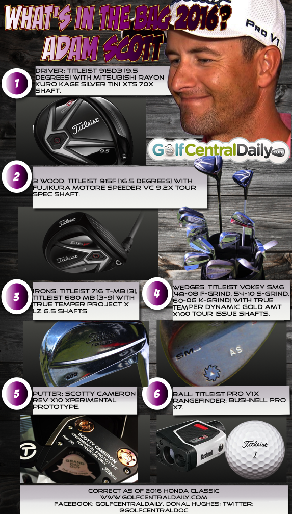 Whats In The Bag 2016 Adam Scott Witb Infographic