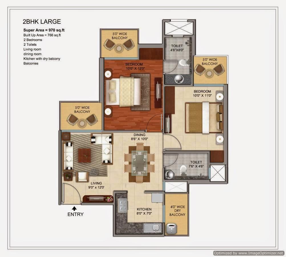 970-sq.ft.-2-BHK-floor-plan-prateek-Grand-City