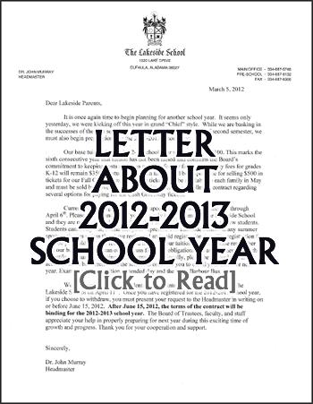 Lakeside News and Announcements: Dear Parents.... (Letter