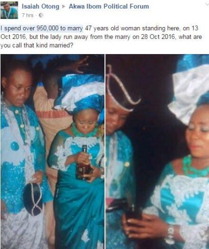 Photos: Man Spent N950k To Marry A Woman And She Left Him Two Weeks After