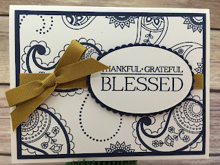 "This Thankful, Grateful, Blessed card uses Stampin' Up!'s Paisleys & Posies stamp set and the Delightful Dijon 3/8"" Ribbon.  I also used the Layering Ovals Framelits.  #stamptherapist #stampinup  www.stampwithjennifer.blogspot.com"