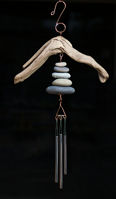Driftwood and beach stones natural Pacific wind chime