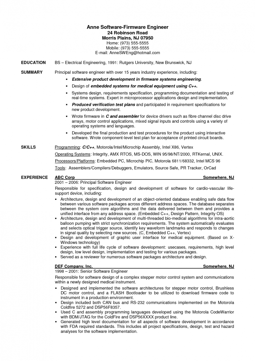 resume format for experienced software developer
