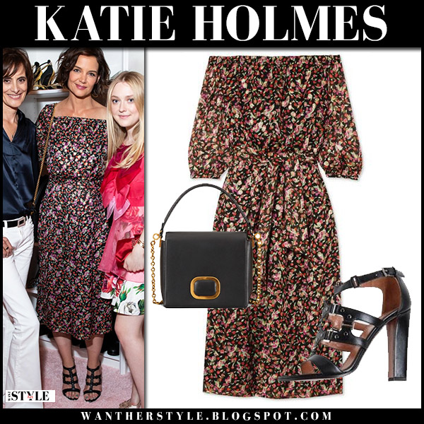 Katie Holmes in floral print off shoulder midi dress vanessa seward celebrity style may 31