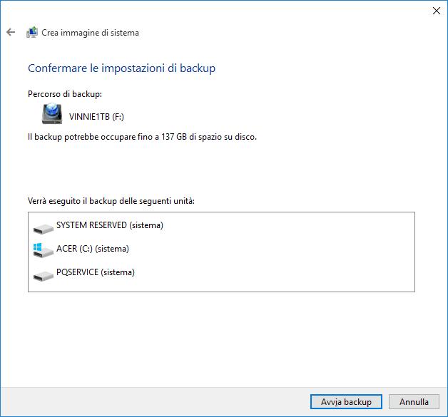 Confermare impostazioni di backup Windows 10