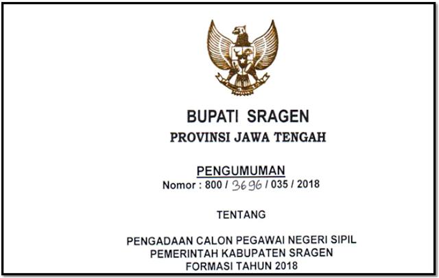 Rincian Formasi CPNS Kabupaten Sragen Tahun Anggaran 2018