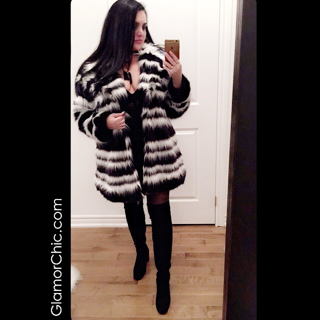 black, black & white, trendy coat, party look, evening look, trendy outfit, thigh high boots, zara boots