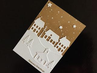 die cut village hand made Christmas card