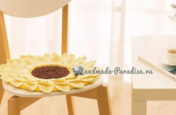 Схемы вязания подсолнуха - декоративной сидушки для стула (7)