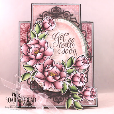 Our Daily Bread Designs Stamp/Die Duos: Hello Friend, Paper Collection: Romantic Roses, Custom Dies: Center Step A2 Card, Center Step A2 Layers Oval Stitched Rows, Ornate Ovals