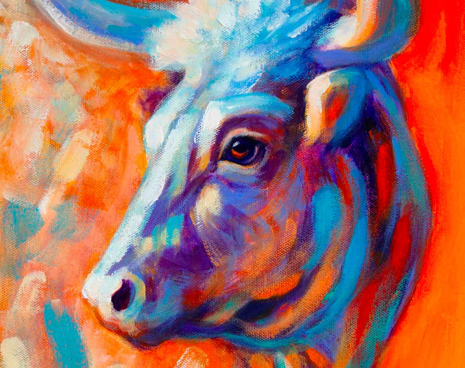 Western Longhorn Painting In Bright Colors By Theresa Paden