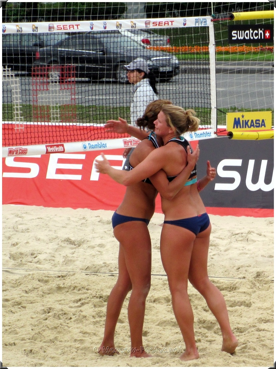 Beach volleyball won match