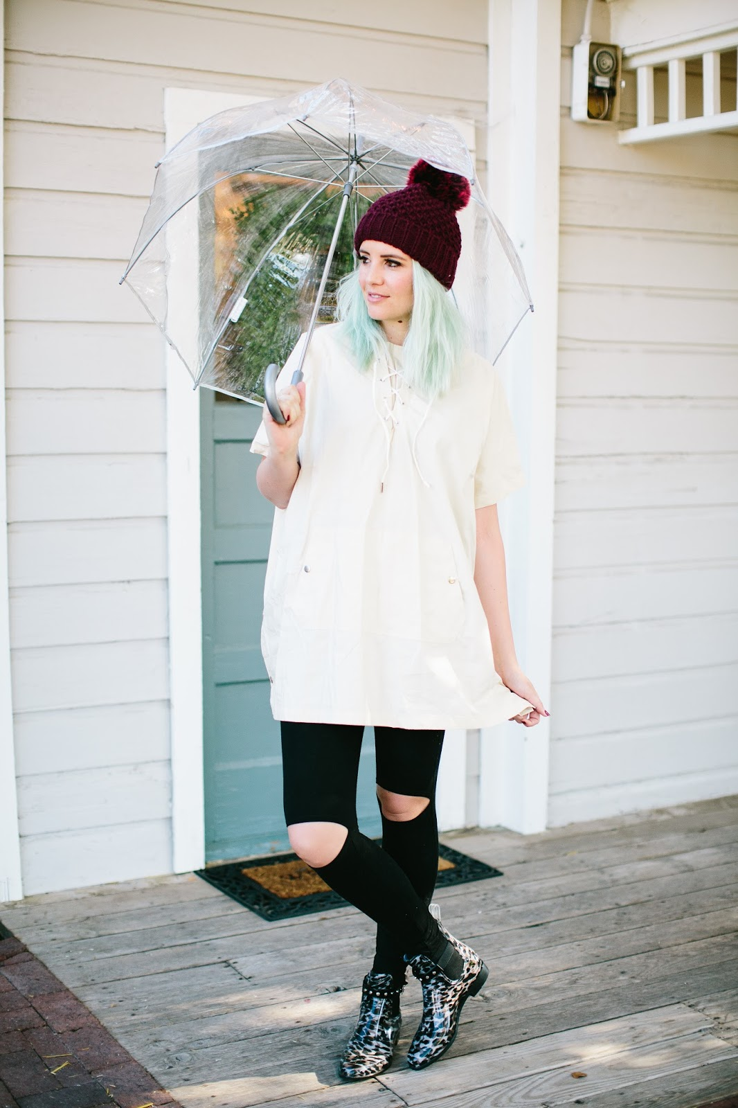 Clear Umbrella, Rainy Day Style, Utah Fashion Blogger
