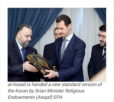 Presiden Syiria Bashar Assad telah mengeluarkan Al Quran versi Al-Assad. Dengan membuang ayat-ayat yang menyesatkan dalam Quran asli..