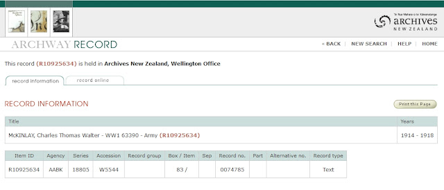 Screen capture of Archives New Zealand search results for Charles Thomas Walter McKinlay, 63390