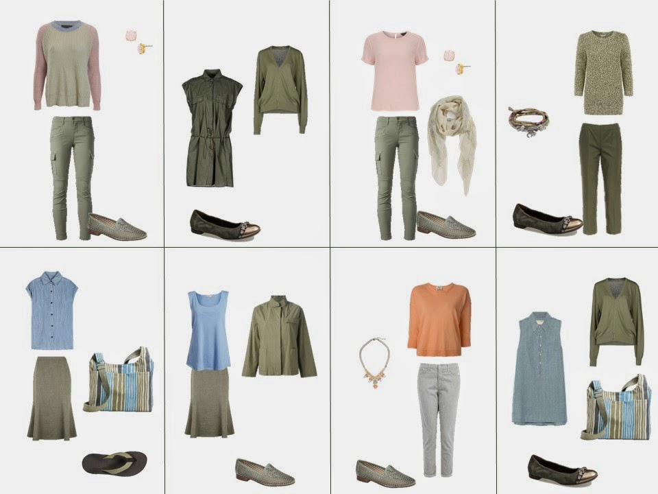 eight outfits based on the colors found in Elizabeth Blackadder's Dark Pond