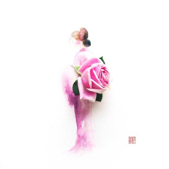 Lim Zhi Wei (Limzy) pinturas aquarelas coloridas com flores reais mulheres vestidos florais minimalistas