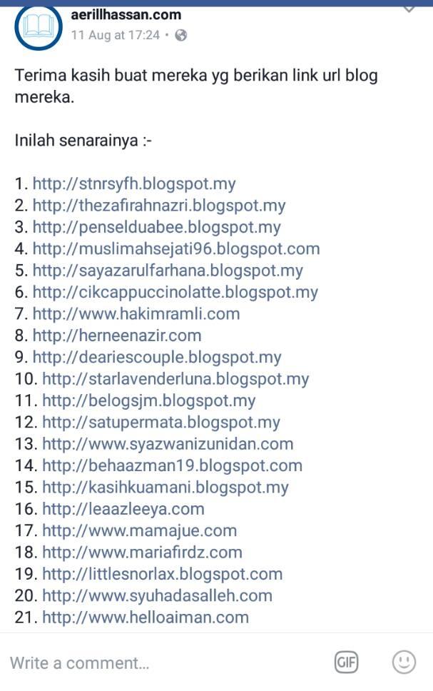Sudah Update Bloglist Ogos 2017