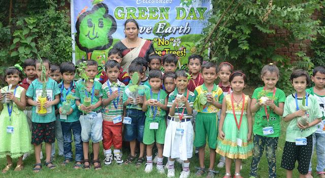 'Green-Day' was celebrated by children by planting 'Balaji Public School'