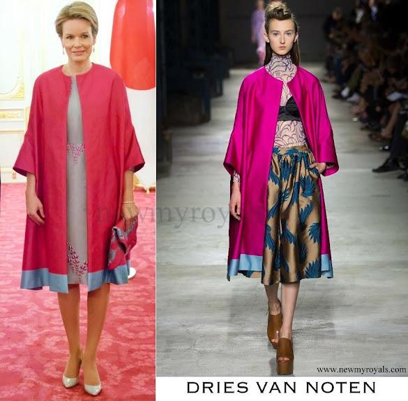 Queen Mathilde wore Dries Van Noten coat Spring Summer 2016