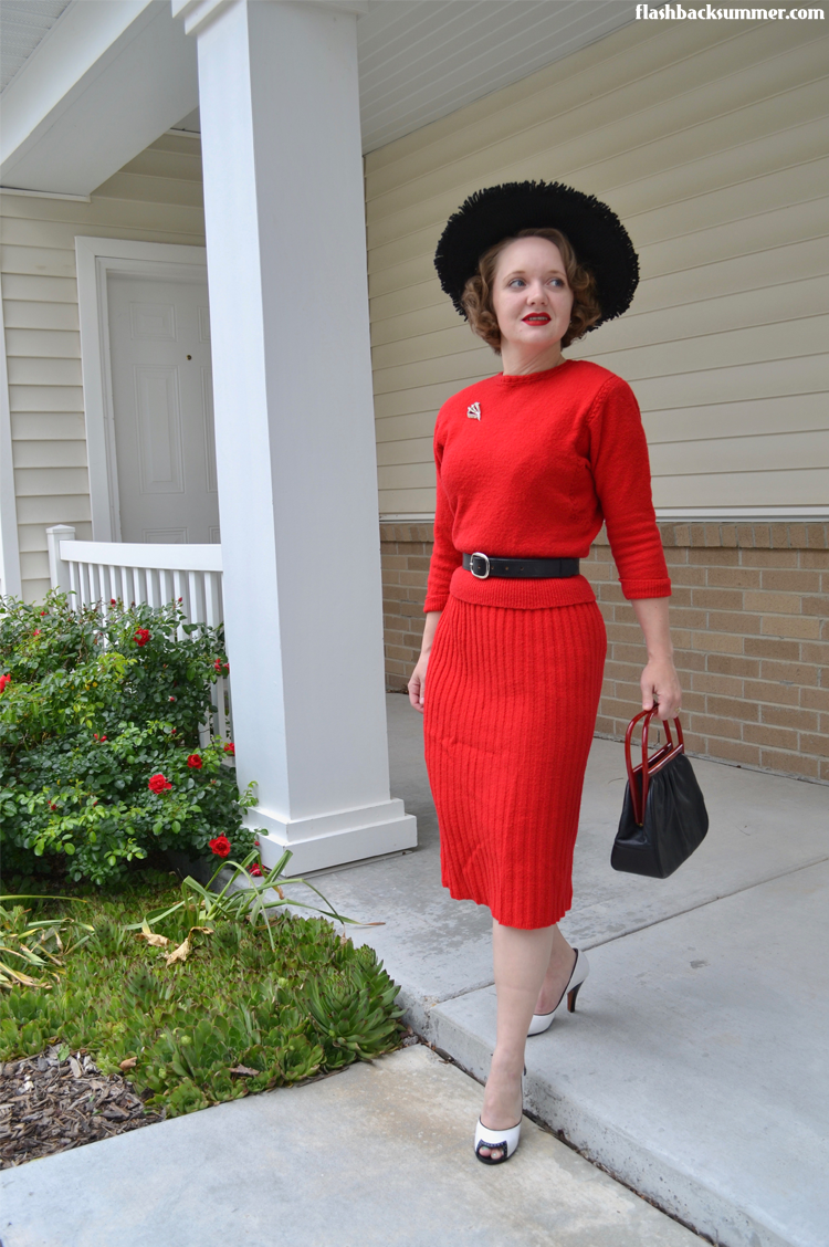 Flashback Summer: 1940s red sweater dress set