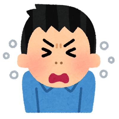 くしゃみをする人のイラスト(男性)