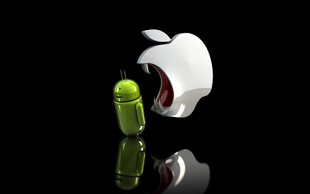 Zwarte wallpaper met een 3D Apple logo en een Android robot