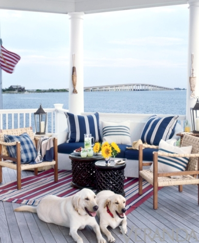 Outdoor Seaside Stripe Coastal Nautical Decor Ideas