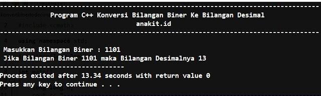Artikel Ini membahas tentang program c++ dalam meng-konversi bilangan biner kedalam bilangan desimal