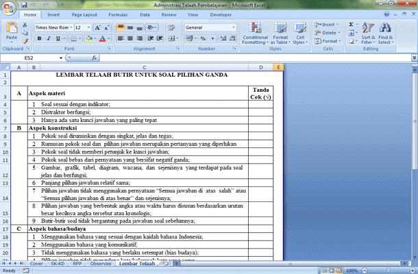 Administrasi Telaah Pembelajaran Format Microsoft Excel