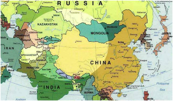 asia tengah dalam peta