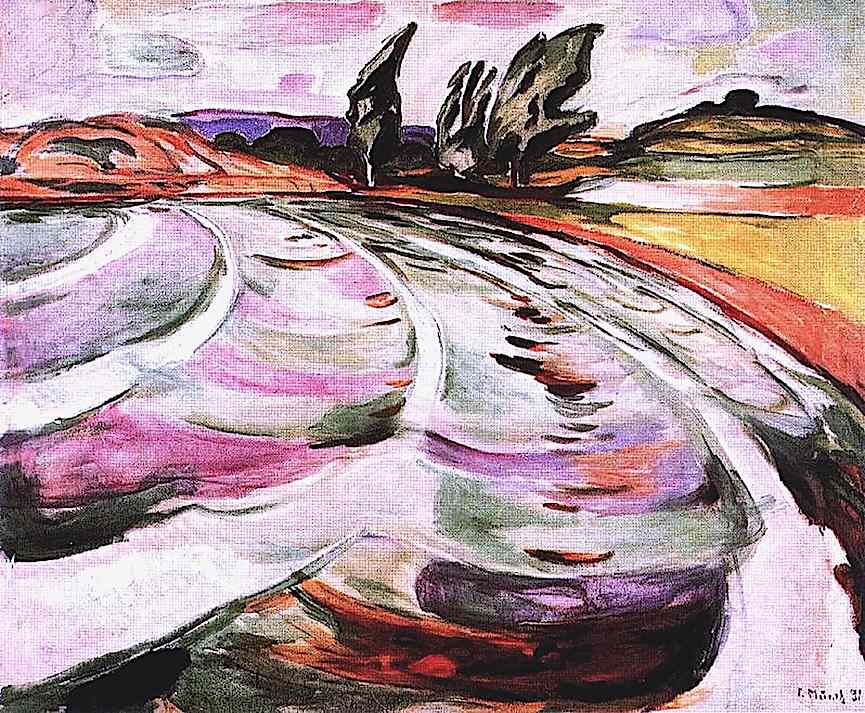 an Edvard Munch painting of waves in a bay