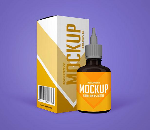 Gratis Mockup Packaging/Kemasan PSD 2018 - Nasal Drops Bottle & Packaging Mockup PSD