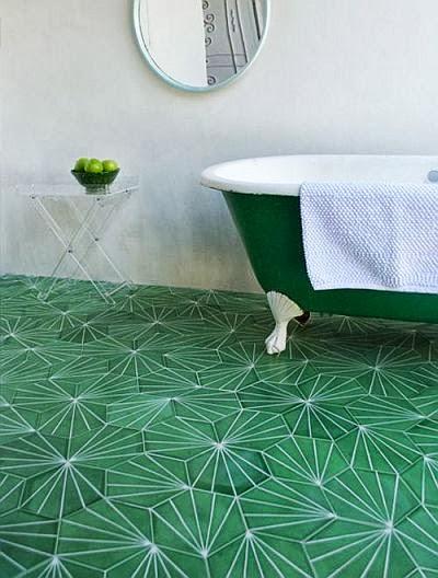 amazing green floor bathroom and claw foot bathtub