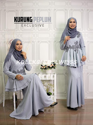 Baju Kurung Peplum Exclusive Raya 2017 Warna Grey