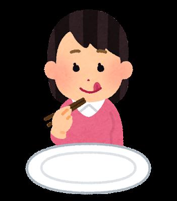 箸で食事をする人のイラスト(女性)