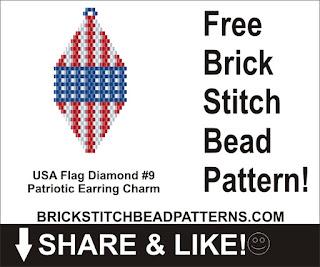 Free patriotic brick stitch seed bead earring pattern printable pdf.