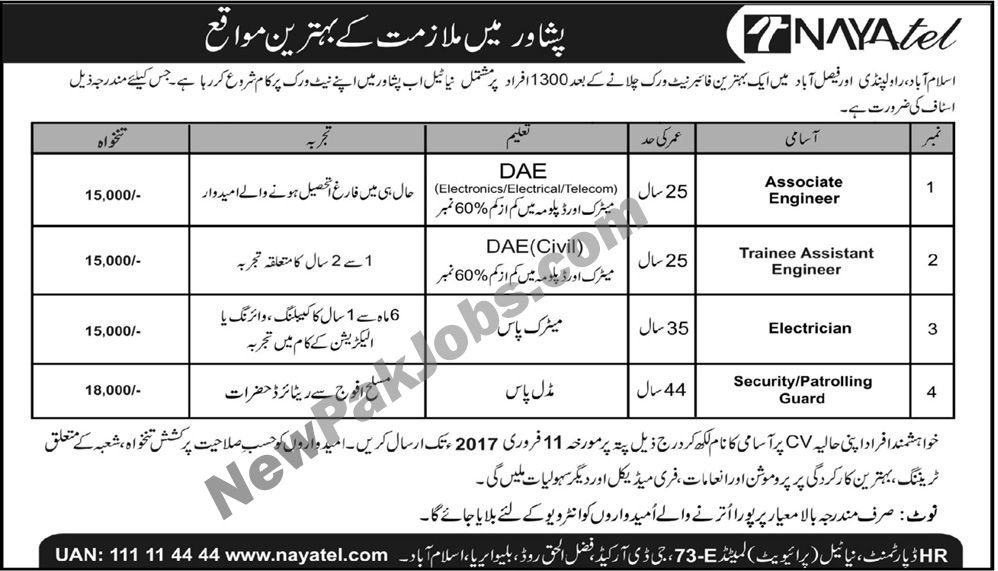 New Private Jobs in Nayatel in Peshawar 05 Feb 2018