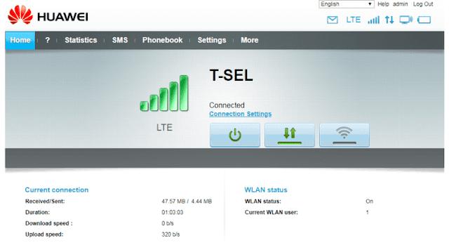 Tampilan Huawei E5573 (akses di browser 192.168.8.1)