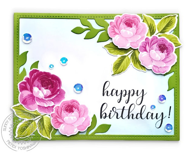 Sunny Studio Stamps: Everything's Rosy Layered Rose Birthday Card (using Everyday Greetings Stamps & Botanical Backdrop Dies)
