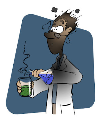 A cartoon chemist is pictured after his experiment back-fired