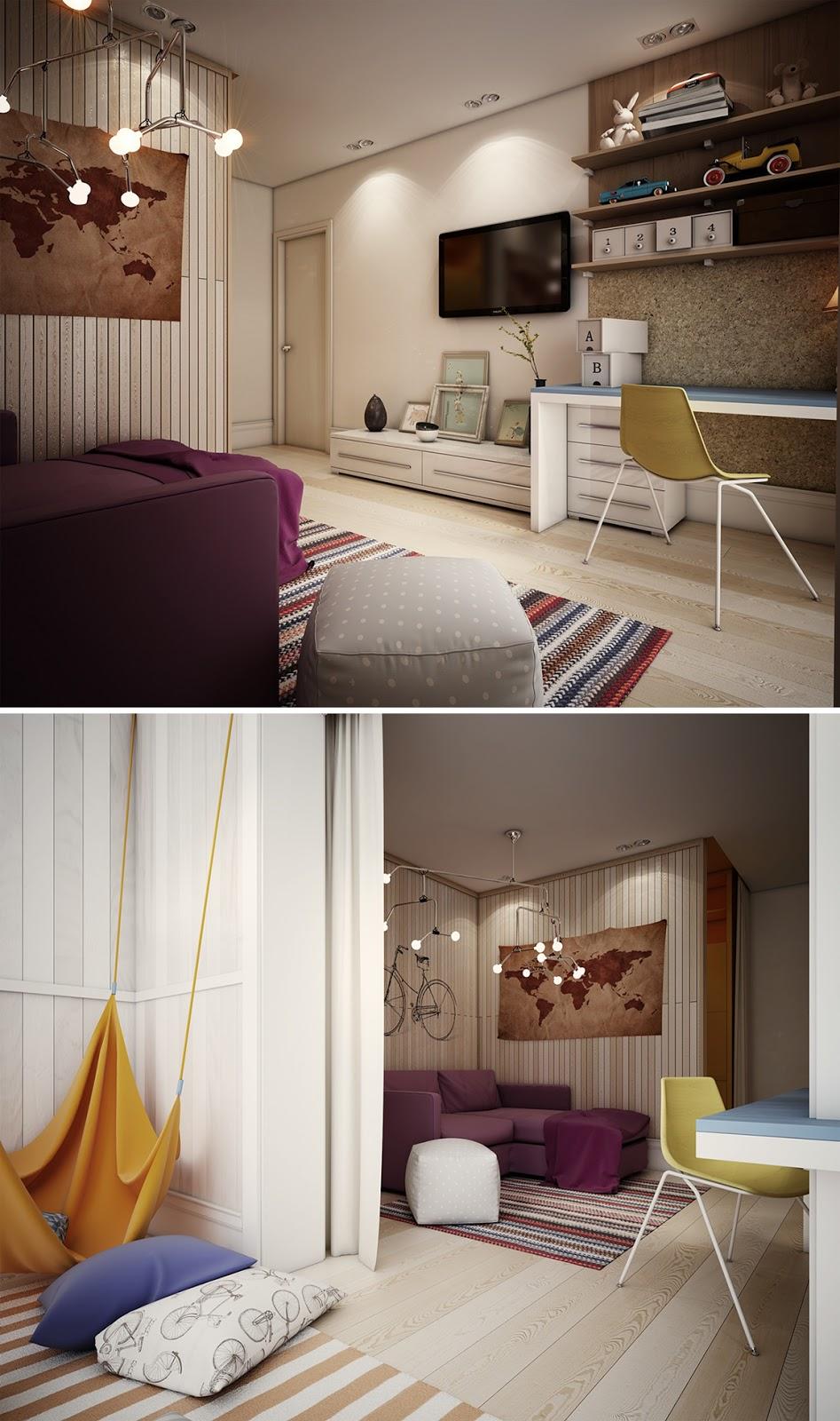 decoração de quarto com home office