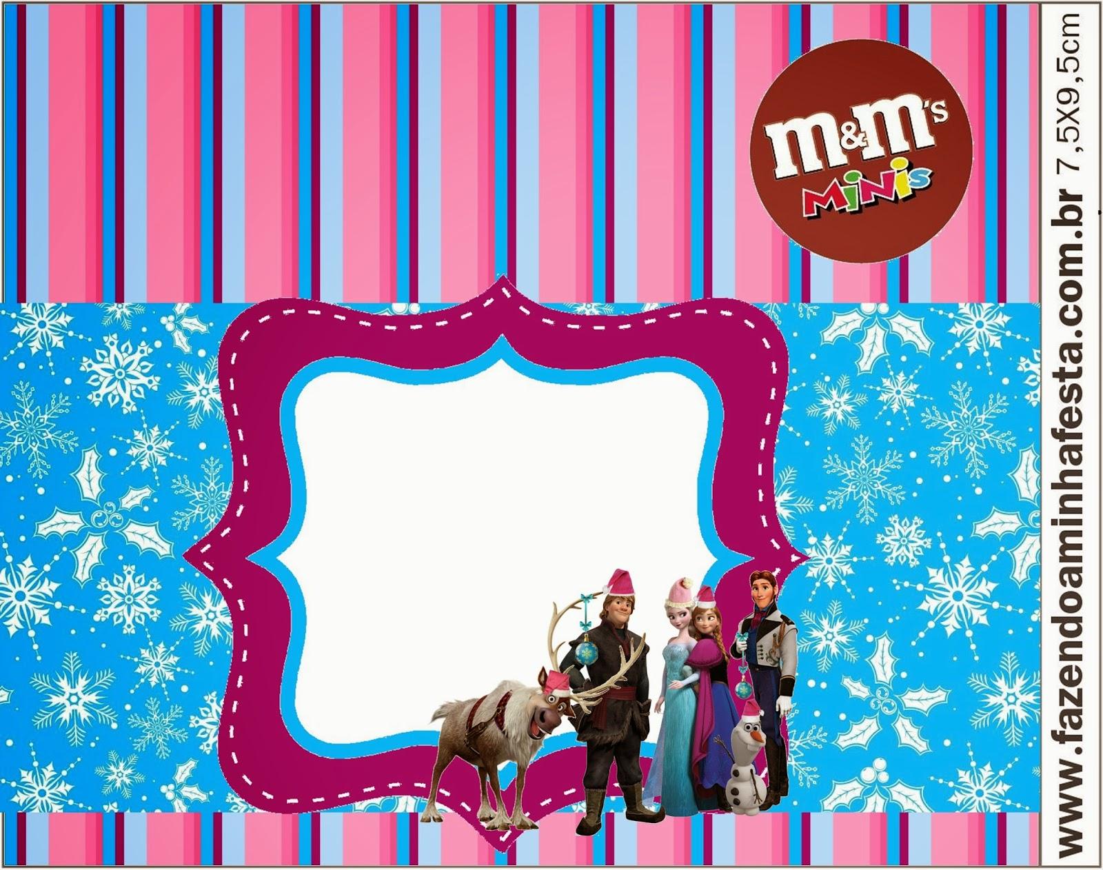 Etiquetas M&M de Frozen para Navidad para imprimir gratis.