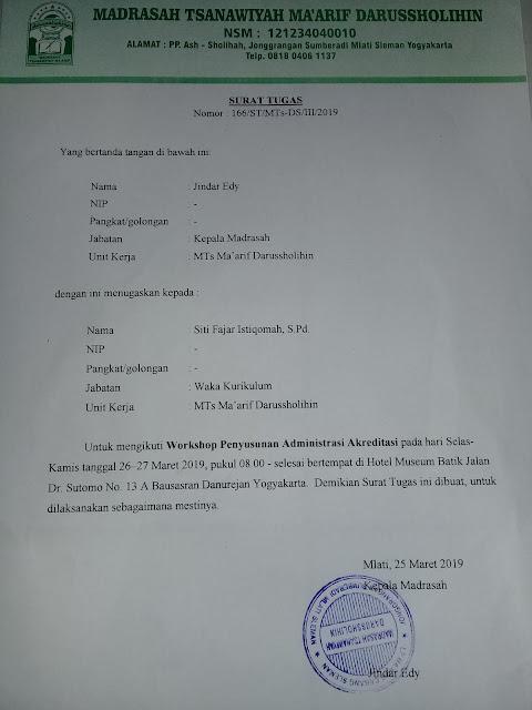 Contoh Surat Tugas mengikuti Workshop Penyusunan Administrasi Akreditasi Sekolah/Madrasah