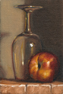 Still life oil painting of a nectarine beside an upturned ISO tasting glass.