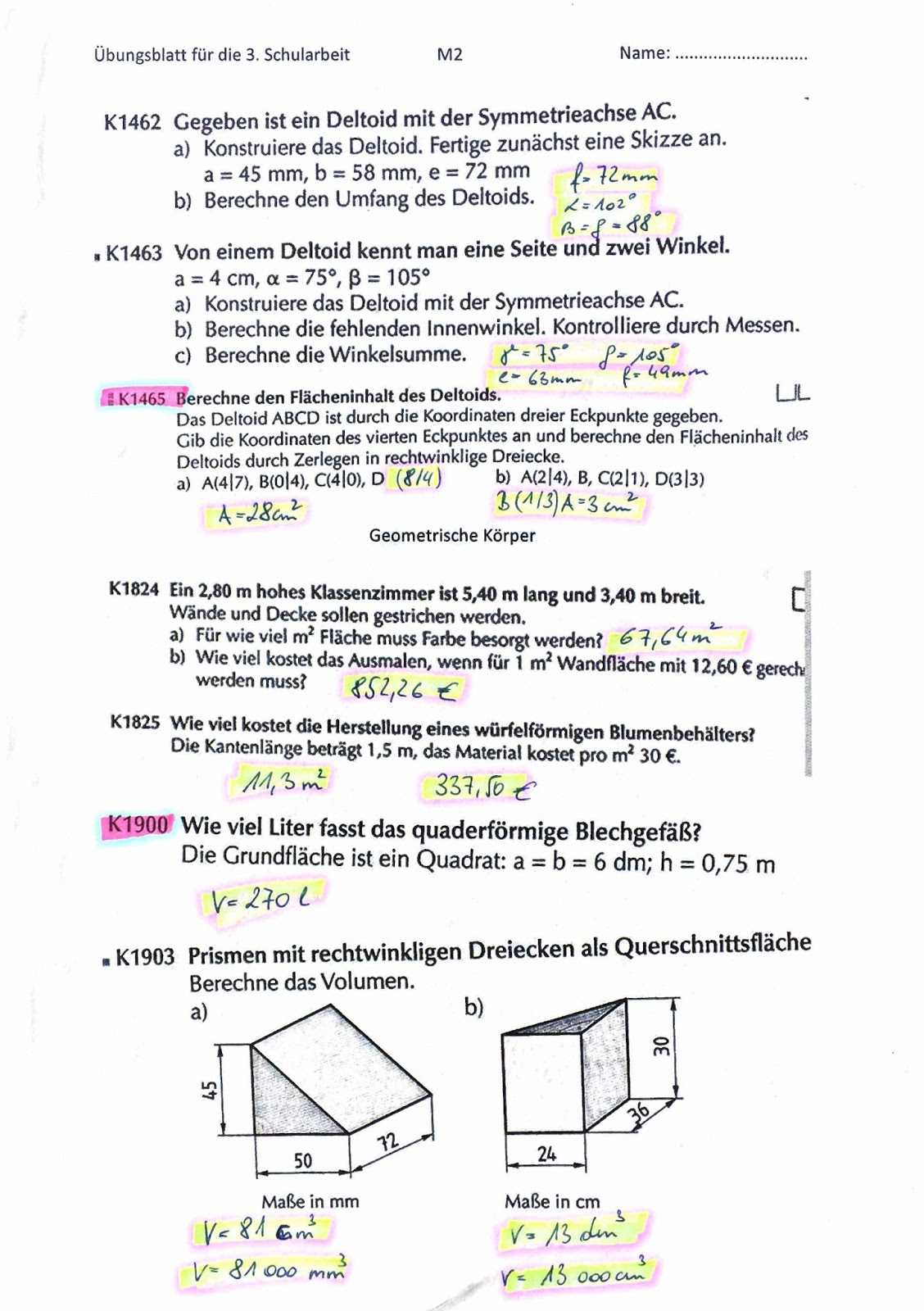 Klassenblog -2C-: Arbeitsblatt Vierecke - Körper