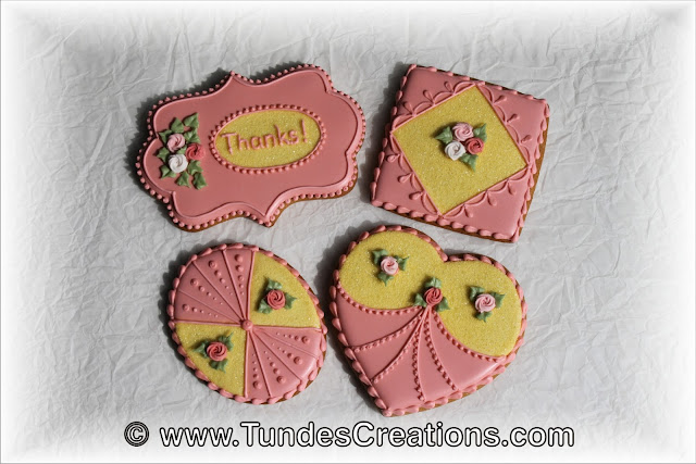 Thank you cookie set with swirl roses and sanding sugar by Tunde Dugantsi