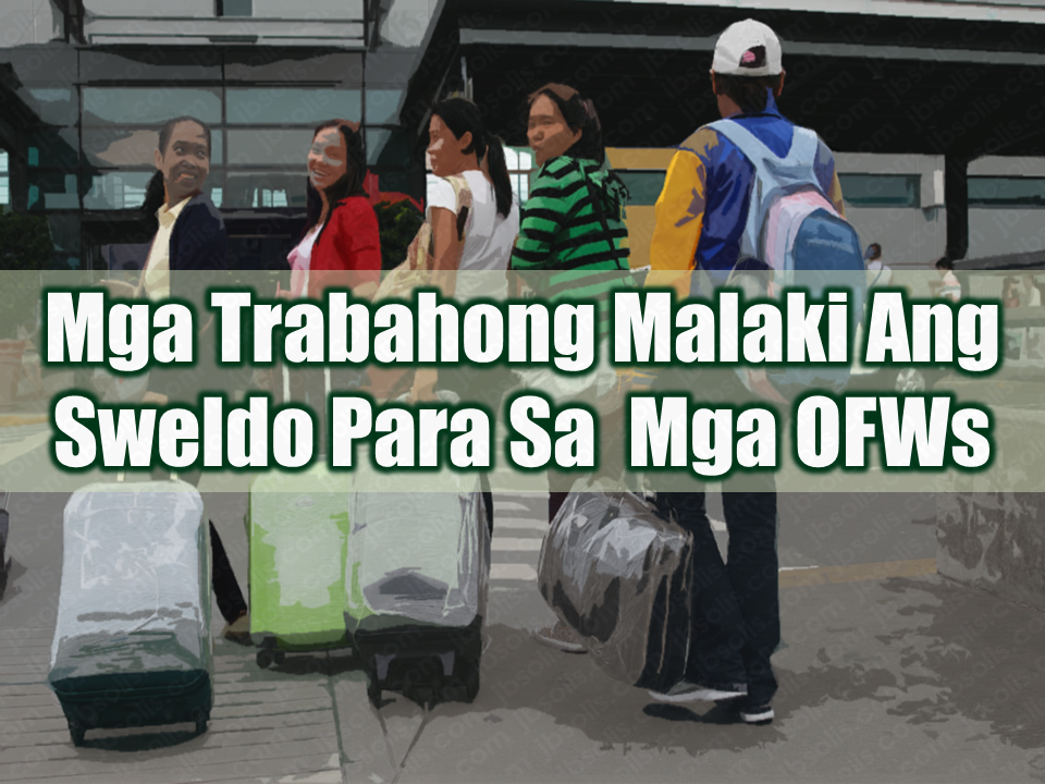 The very reason why Filipinos work overseas is that they want bigger salaries that they will surely not get with the same job description and position they are having in the Philippines. Overseas Filipino Workers (OFWs) are willing to risk everything just for the higher salary that they can get by working abroad because it would mean higher earnings at shorter period of time. Lets say a local factory worker could only get a minimum wage of P512 x 26, and note that they cannot get that whole P13,312. Minus the taxes and all, they were lucky if they can get P7,000 - P8,000 take home pay. Whereas if they work abroad, that would be more than double. The highest paid OFWs are engineers, healthcare professionals, and IT professionals, with most of them earning by as much as P99,000 monthly. Workabroad.ph annual report revealed that a ship master in the United States can earn P99,000, while a chief engineer can earn P96,000 a month. Middle East and Asia-Pacific gives land-based engineers a monthly salary of P57,000 to P59,000 per month. In the Middle East, the most highly paid professionals are those in the field of health care. Pediatricians can earn as much as P86,000 per month, nurses can earn P65,000 while veterinarians can earn P58,000. IT professionals in Asia-Pacific with 0 to 4 years of experience can already earn as much as P54,000. According to the survey, the top 10 countries of deployment are: Saudi Arabia United Arab Emirates Singapore Hong Kong Qatar Kuwait Taiwan Italy Bahrain Malaysia Sponsored Links Skilled OFW workers are still the most in-demand abroad. In the Middle East, Filipinos can find opportunities in general work such as drivers, electricians, and AC, auto, refrigeration, plumbing, and maintenance technicians as well as engineering-related jobs which include mechanics and electrical technicians and food/beverage/restaurant service sectors like cooks, waiters/waitresses, and baristas. In the Asia-Pacific, skilled workers like carpenters, household