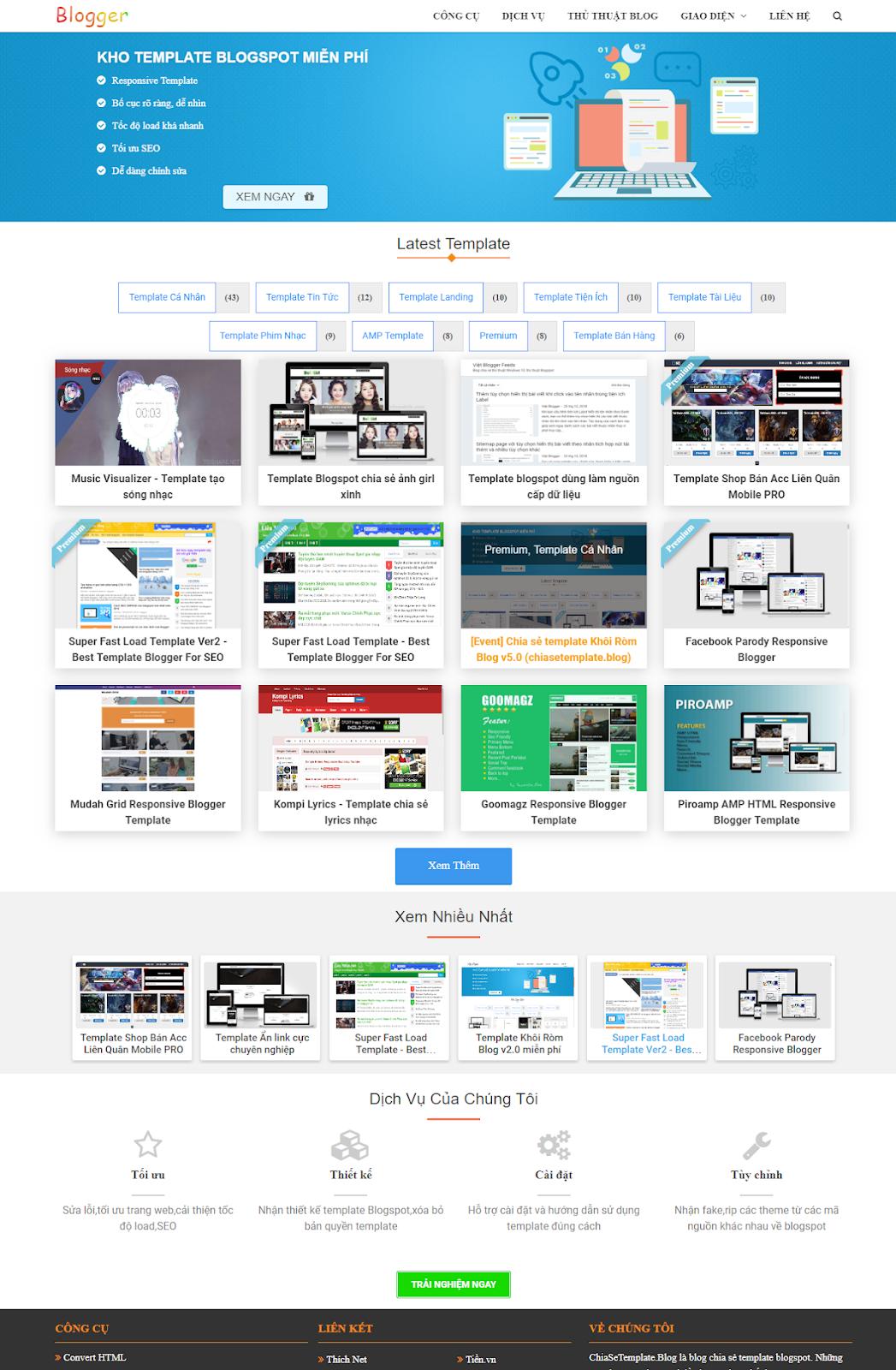 Chia sẻ Template Blogspot Khôi Ròm V5.0 mới nhất