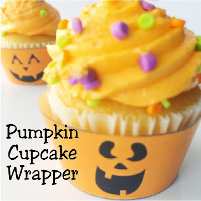 Turn plain cupcakes into a smiling treat with these cute Halloween pumpkin cupcake wrappers and toppers.  You can print and wrap these around your Halloween cupcakes for a quick and easy treat today.